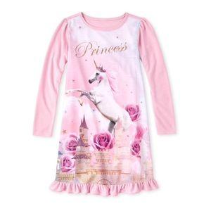 NWT Girls Pink Princess Unicorn Night Gown M (7/8)